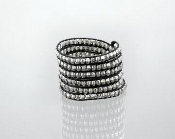 Wrap bracelet on black leather