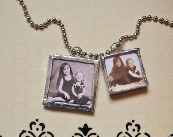 Soldered Charms, Hand Soldered Sterling Silver Photo Charm, Soldered Glass Pendant, Soldered Jewelry, Double Sided Soldered Pendant Necklace