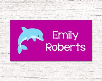 40 Waterproof Baby Bottle Labels - Dishwasher Safe - Sippy Cup Labels - Personalized Daycare School Name Labels - Dolphins 001