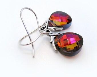 Red Crystal Earrings, Swarovski Rhinestone Pear Earrings, Sterling Silver, Ruby Red Teardrops, Gift, Under 30, Gift for Her - DIAMONIQUE