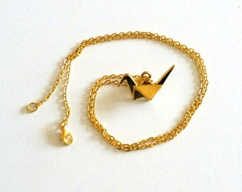 Origami crane goldtone necklace