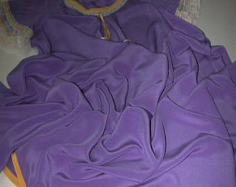 No. 500 Periwinkle Blue Silk Crepe Nightgown With Gold Accents and Antique Valenciennes Lace Size 10-18 Range