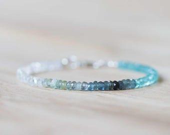 Moss Aquamarine, Apatite & Ceylon Moonstone Bracelet, Beaded Multi Gemstone Blue Green Ombre Bracelet, Sterling Silver Rose Gold Fill