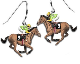 Jockey Horse Racing Earrings Kentucky Derby Belmont Stakes Churchill Downs Trifecta Equestrian Charm Hoop Earrings