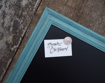 LARGE Magnetic Chalkboard 35 x 23 in. Distressed Blue Vintage Style Frame - Large Magnetic Board -  Blue Chalkboard