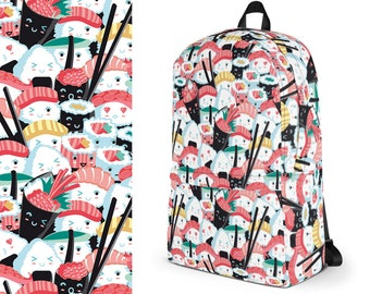Sushi Backpack, Backpack, Sushi Lover Gift, Cat Mom, Sushi Lover, Everyday Backpack, Sushi Mom, Kawaii Sushi Print, Sushi Gifts, Kawaii Food