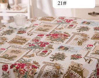 1 x coupon 50x145cm Norwegian garden print pattern pure linen fabric