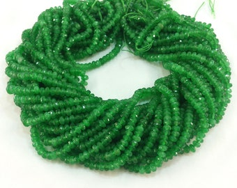 """Kelly green Jade 5x3mm faceted rondelle beads approx. 15"""" strand or 7"""" strand roundelle"""