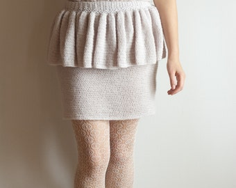 INSTANT DOWNLOAD crochet pattern - Ivory Tower Skirt - grey gray powder pink ruffle skirt tutorial PDF