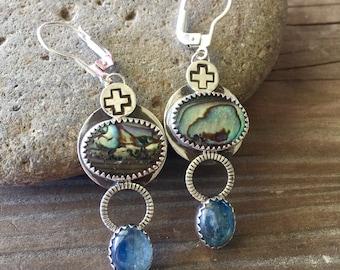 Kyanite and Abalone earrings