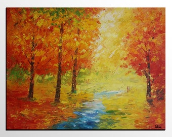 Abstract Art, Autumn Landscape Painting, Original Painting, Art Painting, Canvas Wall Art, Large Canvas Art, Large Abstract Painting