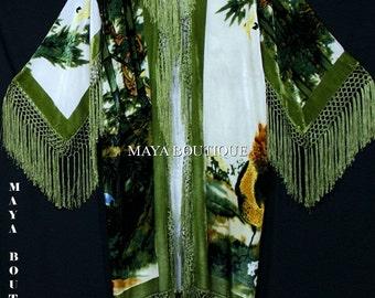 Fringe Jacket Kimono Duster Silk Solid Velvet Peacock Ivory Multi Maya Matazaro Made in USA