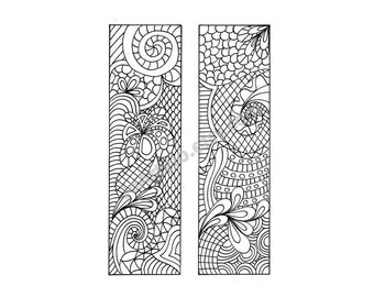 Printable Bookmarks, Zentangle Inspired DIY, Zendoodle Bookmarks to Print and Color, Printable Coloring Page, Digital Download, Sheet 6