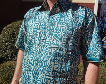 Men's Handmade Sari Silk Short Sleeve Button Down Dress Shirt - Size L or XL - Aqua and Ivory - Clement G744