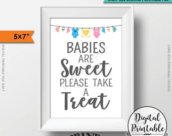 "Treat Sign, Babies are Sweet Please Take a Treat Baby Shower Sign, Sweet Treats Sign, Baby Shower Treats, Printable 5x7"" Instant Download"