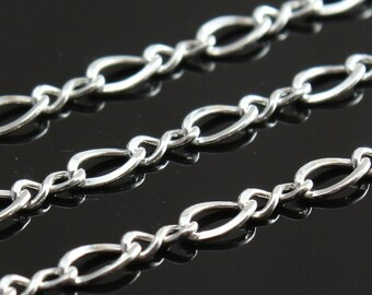 Sterling Chain Bulk - Medium Figure 8 Chain 4mm x 2.5mm - SAVE 5 - 10% on Bulk Chain Lengths 5 to 12 feet