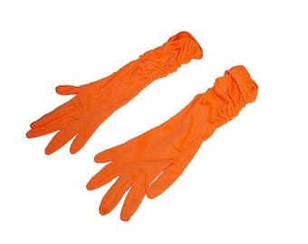 Orange Gloves, Vintage Gloves, Long Gloves, Shirred, Vintage 1960s, 6 button Gloves, Opera Gloves, Womens Gloves
