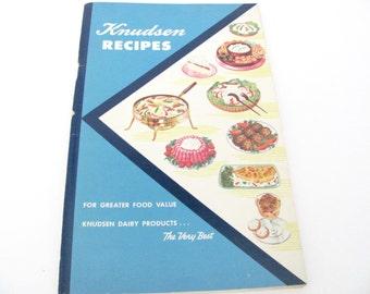 Vintage Recipe Booklet, 1950s Knudsen Dairy Cookbook, Pamphlets, 1950s Dairy Recipes