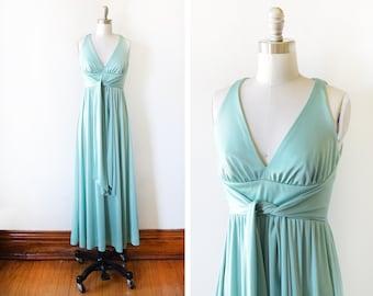 70s maxi dress, vintage 1970s disco dress,  seafoam green wrap jersey grecian dress, extra small xs