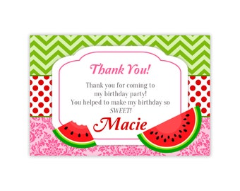 Watermelon Thank You Card -  Green Chevron, Red Dots, Pink Damask, Watermelon Personalized Birthday Party Thank You - Digital Printable File