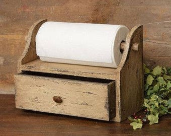 Primitive paper towel holder with single drawer