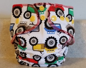 Fitted Preemie Newborn Cloth Diaper- 4 to 9 pounds- Tractors- 16017
