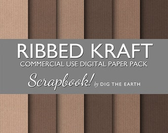 INSTANT DOWNLOAD Ribbed Kraft Paper Digital Collage Sheets 12x12 inch Set of 6 Digital Papers Brown Recycled Commercial Use Kit