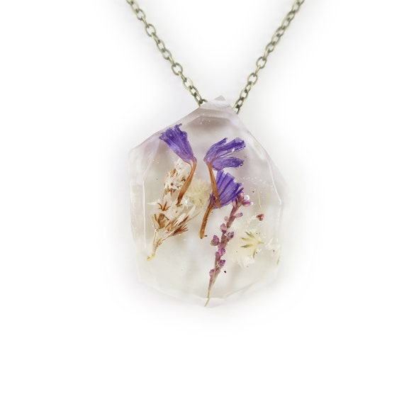 Real Flower Resin Necklace • Nature Necklace • Eco Resin Pendant Terrarium Jewelry • Flower Jewelry • Science Jewelry • Dried Flower Jewelry