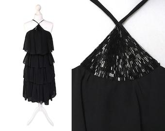 Vintage Shubette Of London Dress | Black Dress | 1970's Tiered Chiffon Dress