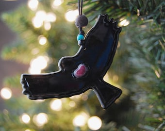 Glass Hawk Christmas Ornament with pink heart and gold accents- Black Silhouette~Original Fused Glass Art-Inner Peace Totem