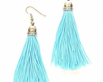 Sky Blue Handmade Tassle Earrings
