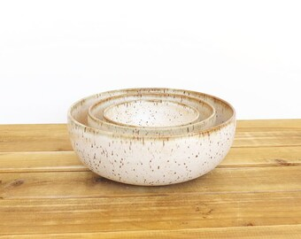 Stoneware Pottery Nesting Bowl Set in Satin Oatmeal Glaze - Set of 3, Handmade Ceramic Bowls, Rustic Kitchen