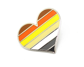 Bear pride pin, gay lapel pin, Bear flag pin, heart enamel pin, gay decoration, Lgbtq community, manly pin