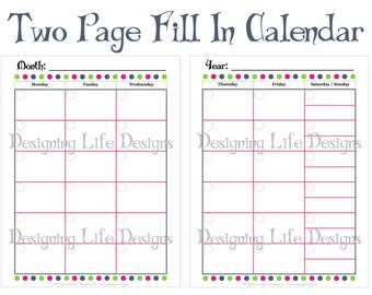 Two Page Calendar Printable PDF - Fill In Dates for Reuse