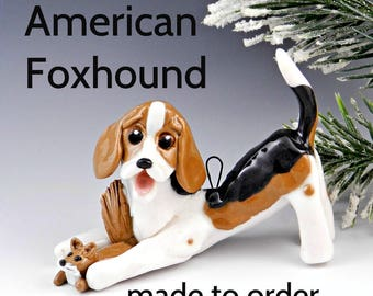 American Foxhound PORCELAIN Christmas Ornament Figurine Made to Order