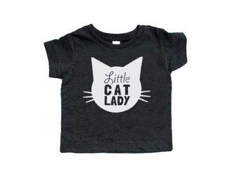 Little Cat Lady Triblend TShirt in Heather Black with White Print - Infant and Toddler Sizes - Cat Baby, Infant, Cat Lover, Cat People