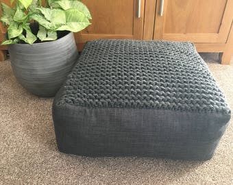 Handmade square floor cushion/ottoman/storage.You can have it stuffed or unstuffed.