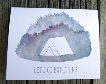 Let's Go Exploring Card, Tent Camping Card, Love Note Card, Anniversary Card, Watercolor Camp Painting, Valentine's Card, New Adventure