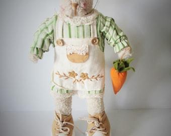 Beautiful Vintage Country Kitchen Rabbit Ornamental Doll -  FOLK ART. /MEMsArtShop.