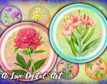 Victorian Flowers printable downloads, digital collage sheet circle 1.5 inch, 30mm 1 inch bottle cap images, vintage ephemera jewelry making