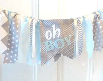 Baby Shower Decorations Boy, OH BOY banner, gender reveal, oh boy baby shower, blue, little man shower, tassel garland, boy shower ideas