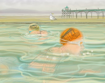 Art print - 'Synchronised Swimming' - open water swimming, sea swimming, wild swimming, A4 or A3 size. Art by Nancy Farmer