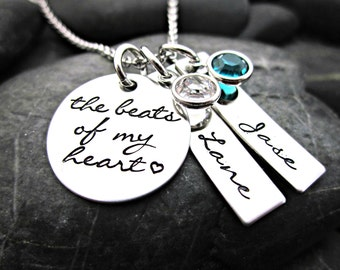 Mother's Necklace - The Beats of my Heart - Heartbeat - Mother's Day - New Mom - Mom Necklace - Mom Gift - Hand Stamped Personalized Jewelry
