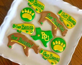 Texas Cookies - Bear Cookies - Football Cookies - College Cookies - Paw print Cookies - BU Cookies - Graduation