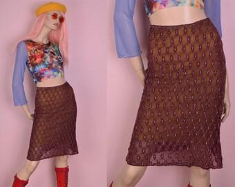 90s Burgundy Metallic Thread Mesh Skirt/ Small/ 1990s