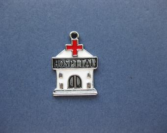 5 Hospital Charms - Hospital Pendants - Hospital - Medical Charm - Antique Silver - 27mm x 20mm -- (H8-10229)