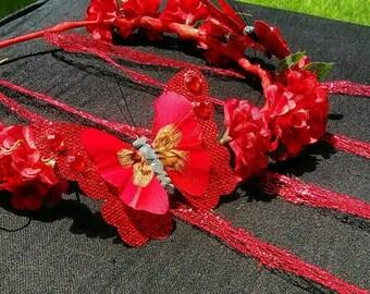 Ruby Wings Butterfly Flower Crown-  Flower Headband- Festival Crown- Flower Garland- Laurel- Flower Wreath- Princess Crown- Fairy Crown