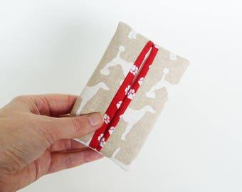 Tissue holder, dog fabric, beige and white cotton dog design, cotton case