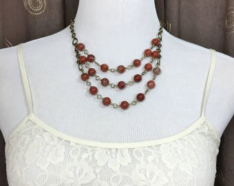 Womens Red Statement Necklace Unique Gemstone Necklace Short Layered Multi Strand Classy Casual Red Earthy Urban Boho Chic Bohemian Necklace