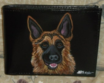 German Shepherd Dog Custom Painted Leather Men's Wallet Gifts for Men